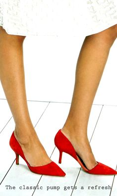 Gorgeous red suede mid heel pumps