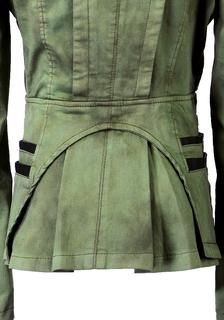 Back hem of green denim PU leather contrast blazer