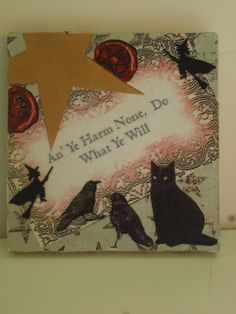 """WITCHY WICCAN, PAGAN Wooden Art Magnet - 4""""x4"""" - """"An It Harm Non, Do What You Will"""". $7.95, via Etsy."""