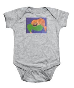 Patrick Francis Heather Designer Baby Onesie featuring the painting Otter 2014 by Patrick Francis