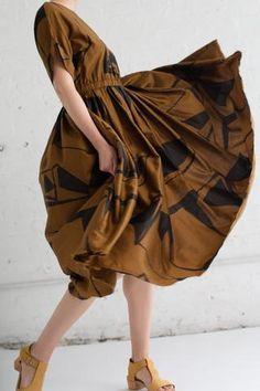 Black Crane Pleated Dress in Print B | Oroboro Store | Brooklyn, New York