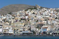Port of Ermoupolis on Syros, Greece