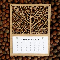 This calendar had been done using laser cutting. I like the leaf vain pattern, and how its cut through the sheet of wood.