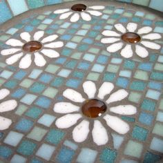 Pastel White Daisy Garden Yard Mosaic Bird Bath by JoSaraUK, £34.00