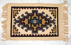 "Set of 6 Placemats Native Geometric Design Earthtones 13x19"" Nice crisp geometric / Native American style design stenciled onto a sturdy cotton canvas placemat. Set of 6 for 29.95 +S&H.  #dining #placemat #southwest"