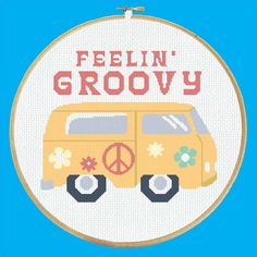 Feelin' Groovy Hippie Van - Cross Stitch Pattern PDF Instant Download