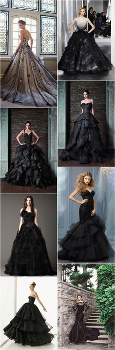 Top 25 Black Wedding Dresses and Bridal Gowns. Black + White Weddings // Aisle Perfect