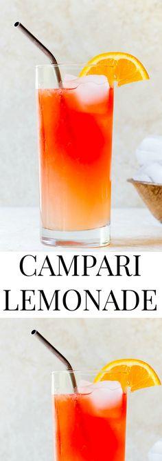 Campari cocktail recipe: add a shot of Campari or Aperol to your lemonade this summer. Boozy lemonade! @DessertForTwo