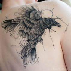Unbelievable Raven Tattoo by Lenny Lindbäck at Stockholm Classic Tattoo: