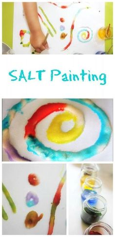 Painting with salt is a fantastic painting technique for an art and craft activity with kids of all ages. Painting with salt is a fantastic painting technique for an art and craft activity with kids of all ages. Creative Activities, Craft Activities For Kids, Projects For Kids, Spring Projects, Indoor Activities, Preschool Activities, Project Ideas, Art Projects, Toddler Preschool