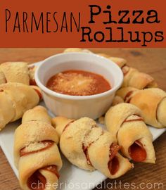 Parmesan-Pizza-Rollups A Roll of Crescent Dough (or any homemade pizza dough) Pepperonis Pizza Sauce Parmesan Cheese