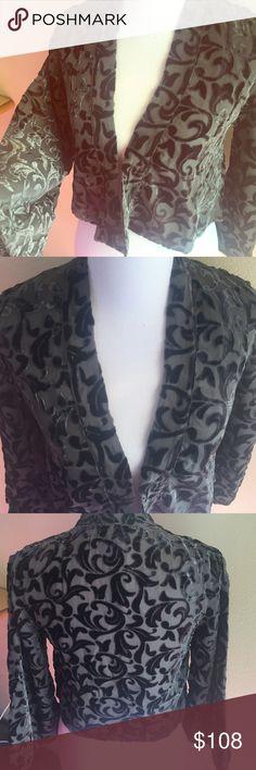 Winter Kate Jade Jacket Winter Kate kimono jacket in burnt out velvet black and grey Winter Kate Tops