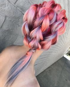 Dark pink to pale pink and purple lilac lavender teal ombré in large braids. Loving it!