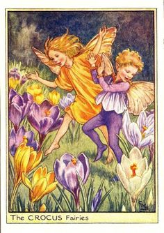 Illustration for the Crocus Fairies from Flower Fairies of the Spring. A boy and a girl fairy run across a field which is covered with crocuses. This illustration originally appeared in Flower Fairies of the Garden, Cicely Mary Barker Spring 1 1944 Cicely Mary Barker, Elfen Fantasy, Fantasy Art, Flower Fairies Books, Fairies Garden, Flowers Garden, Spring Flowers, Fairy Pictures, Vintage Fairies