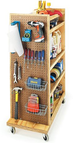 Garage storage cart with pegboard. Garage organization.