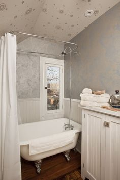 Interesting Painting Clawfoot Tub Shower Combo With Brown Ceramic