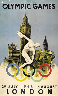The summer #Olympics were last held in #London in 1948! Can't wait to see the city filled with athletes again. Thanks for sharing this vintage poster, @tasud!