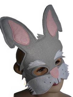 CONEJO gris infantil fieltro mascarilla