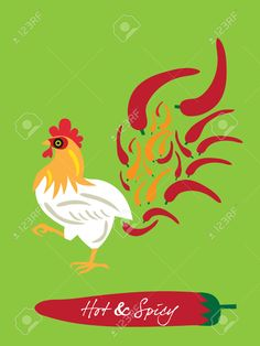 Spicy Restaurant Theme Set Template – Flaming Chicken Royalty Free ...