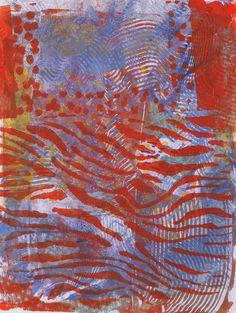 """Orange Stripes, Blue Waves"" original acrylic monotype by Sharon Giles Waves, Stripes, Orange, Patterns, The Originals, Abstract, Artwork, Prints, Blue"