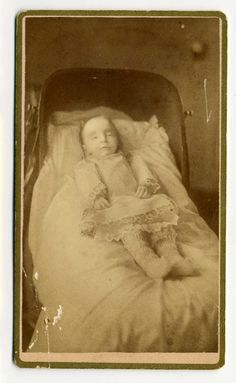 1880s Victorian post mortem photography may seem strange, but for some families it was their only opportunity to have a memento of their loved one as photography was expensive at the time. Sometimes the dead were posed as if alive and sometimes are of children and babies due to the high death rate among this group at the time.