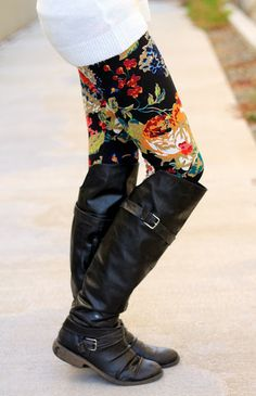 Floral leggings-LOVE! But the boots are all wrong