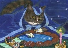 MagiCAT / PURPOSE- a cat priestess Avalon, gazes into her scrying well and divines her highest purpose. To purchase card or matted art- http://fineartamerica.com/featured/purpose-sin-d-piantek.html