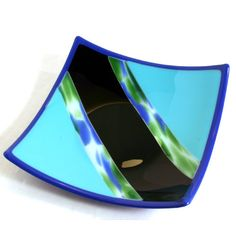 Blue Winged Fused Glass Plate
