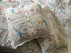 This item is unavailable Crochet Quilt Pattern, Crochet Square Patterns, Crochet Pillow, Quilt Patterns, Easy Sewing Projects, Quilting Projects, Crazy Quilt Stitches, Denim Crafts, Pillow Shams