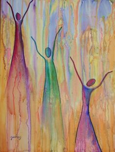 This was painted during the last worship session at the Shady Grove Worship Conference in 2002.  I was painting the worship as it progressed.  It began with the sweet rain of heaven, the glory falling, the fire of God and ended with dancing on the Streets that are GOLDEN!  I like this one.