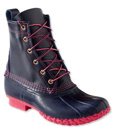 Womens Duck Boots The Original LL Bean Full Grain Leather Boot Navy Pink >>> Continue to the product at the image link. Cold Weather Boots, Winter Boots, Winter Gear, Weather Wear, Stylish Eve Outfits, Work Outfits, Snow Boots Women, Trail Shoes, Nautical Fashion