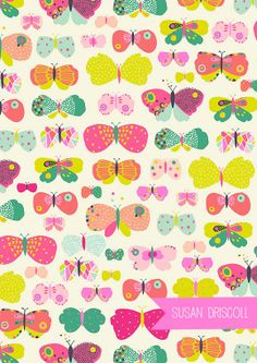 Susan Driscoll Neon Butterflies www.theprinttree.com