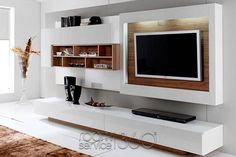 Gallery 05 Entertainment Center in White Lacquer and American Walnut by Milmueble
