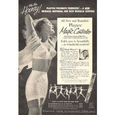 """Playtex 1956 Bra and Girdle Original Ad....""""It lifts and separates!""""  Bullet cone boobs....lol, I never could understand that one"""