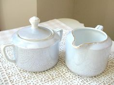 SALE Vintage German Sugar Bowl and Creamer by Vintagegirlsfinds