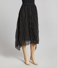 Take a look at the Pretty Angel Black Pleated Silk-Blend Midi Skirt on #zulily today!