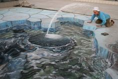 Chalk sidewalk art - Whale blowing.