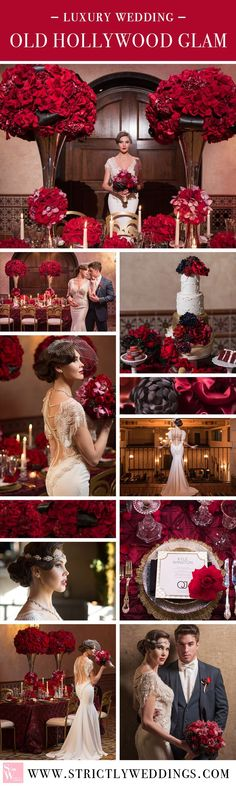 Step back in time with old Hollywood glamour. Dripping in red roses, ornate details and all the glitz and glam of one stylish Galia Lahav gown. #luxurywedding #oldhollywood