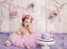 Baby wearing pink tutu and flower crown for themed Baby Cake Smash Photo by Brandie Narola Photography