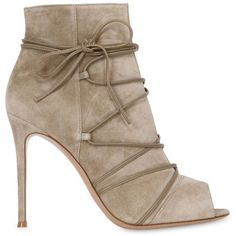 Gianvito Rossi Women 100mm Suede Lace-up Boots found on Polyvore featuring shoes, boots, ankle booties, booties, gianvito rossi, heels, taupe, heeled booties, suede ankle booties and taupe suede booties