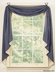 """Sturbridge Navy Fishtail Swag by Primitive Home Decors. $34.95. 100% Cotton Fabric. The Sturbridge Navy Fishtail Swags are 145"""" long and 25"""" wide. Sometimes called a window scarf, the swags are designed to drape around your windows to provide an elegant country window treatment. The traditional Sturbridge Navy Blue and tan check design"""