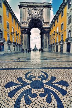 One of my favorite cities in Europe: Lisbon - Portugal my heart is still wandering those beautiful tiled streets! - Rua (street) Augusta, the busyest pedestrian street in Portugal Places Around The World, Travel Around The World, Around The Worlds, Sintra Portugal, Spain And Portugal, Places To Travel, Places To See, Wonderful Places, Beautiful Places
