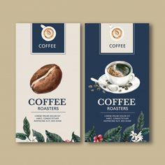 Coffee packaging bag with branch leaves bean, maker machine,watercolor illustration Free Vector Design Café, Menu Design, Label Design, Food Design, Package Design, Thai Design, Graphic Design, Cafe Menu, Menu Café