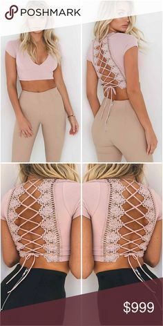Lace Up Crop Top | Pink Lace Up Crop Top Available Sizes S M L V Neckline Soft Cotton/Polyester Material NOT SHEER Colors Pink and White *See Seperate Listing* MK Boutique Tops