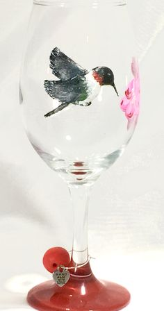 Hand Crafted Clay on Glass Hummingbird Wine Glass  http://handpainted-glasses.com/shop/clayhummingbird