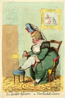 The enormously fat Mrs. Hobart sits in profile to the left in a small armchair, her right foot on a stool, her leg exposed. She places round its grotesque girth a ribbon garter, the central part of which is stiffened by a spring. Perched on her hair is a small straw hat with a high silk crown from which a veil hangs down her back. On the wall behind her is a picture: 'Nina', a small thin man kneels before the stout and terrified Nina (who believes him to be the ghost of her lover). 3 October…