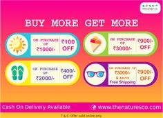 BUY MORE GET MORE - #New attractive #ONLINE offer…only on www.thenaturesco.com  New Online offer: Buy worth Rs. 3000/- & above to get Rs. 900/- off and Free Shipping too. COD facility available.visit www.thenaturesco.com
