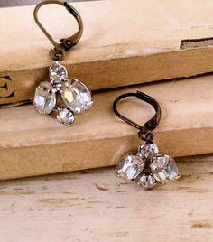Brooke. vintage rhinestone drop earrings. by tiedupmemories, $16.00