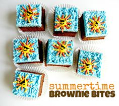 make brownies a little more fun simply with some buttercream and some m's!