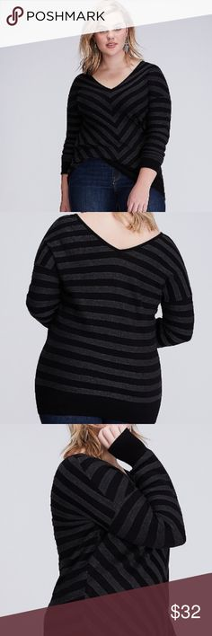 Lane Bryant: Double V Sweater Women's size 14 NWT  Black in color   Item has been reposted but was voted as a host pick on 11/11/17 @ weekend wear party! Lane Bryant Sweaters V-Necks